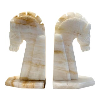 Late 20th Century Agate Horse Bookends - a Pair For Sale