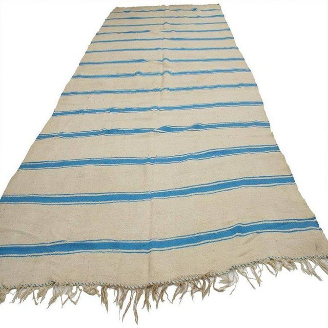 20542 Nautical Striped Kilim Area Rug, Vintage Berber Moroccan Kilim Rug with Stripes, 5'4 x 11'8. Made by the Berber...