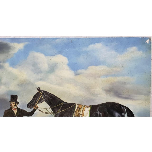 """Early 20th Century Early 20th Century """"Horse and Rider"""" Original Oil Painting For Sale - Image 5 of 8"""