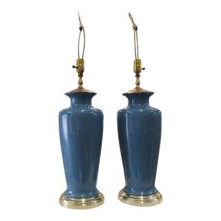 Ocean Blue Temple Jar Lamps For Sale
