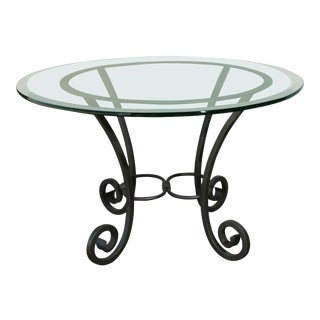 Wrought Iron Table with Glass Top For Sale