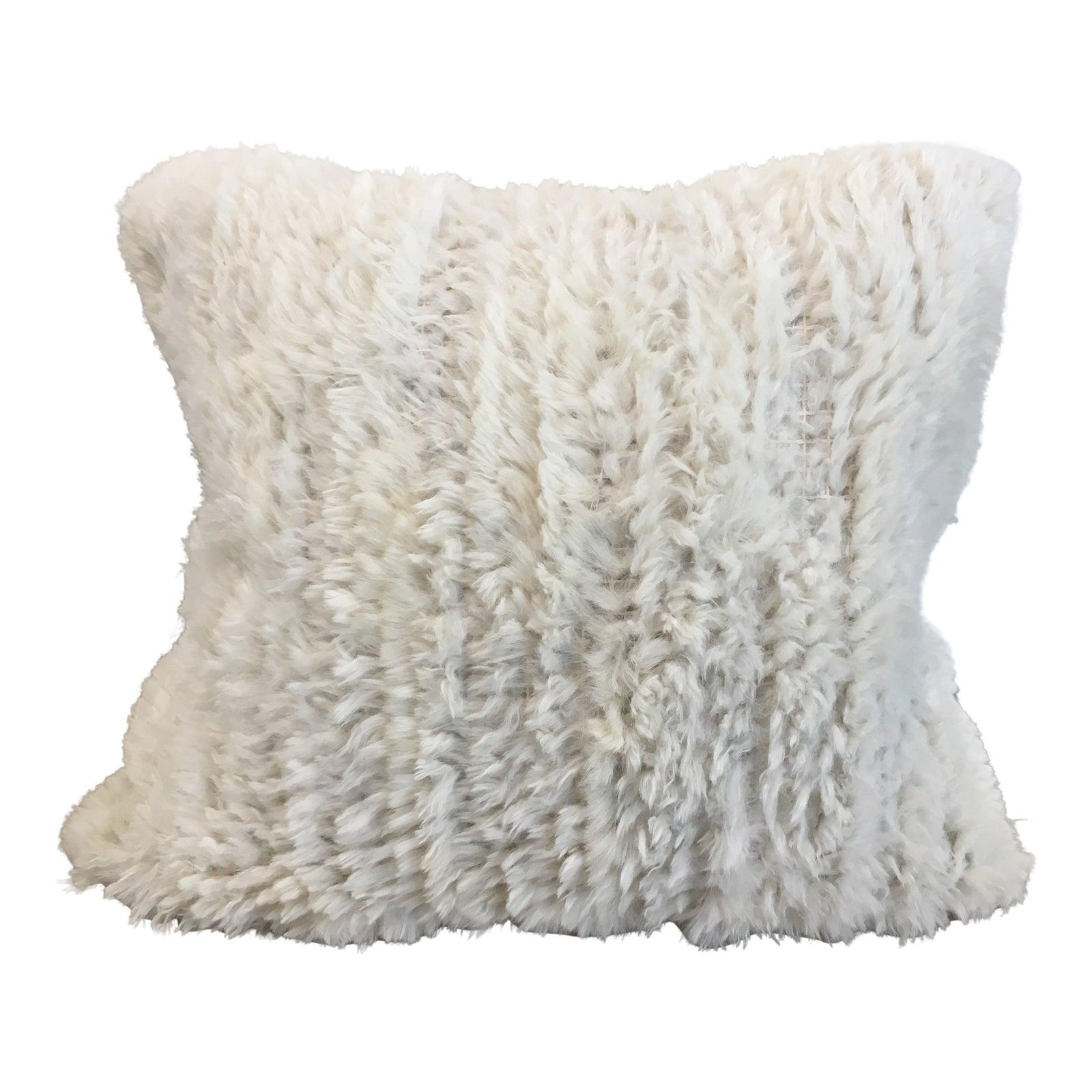 Adrienne Landau Square Rabbit Fur Pillow Chairish