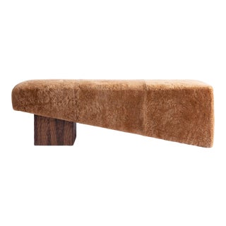 Contemporary Shearling and Walnut Block Bench by Cuff Studio For Sale