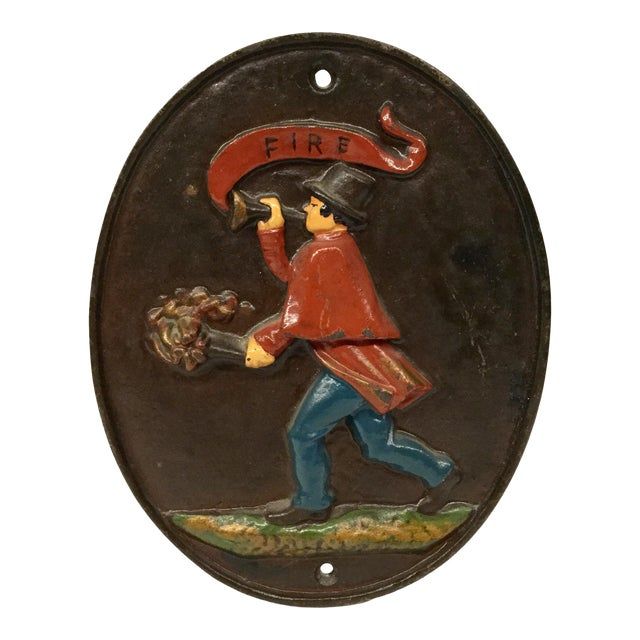 Vintage Wilton Heavy Cast Iron Fireman Fire Department Plaque For Sale