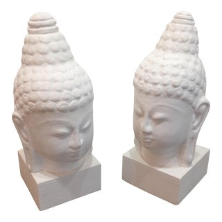 Zen Buddha Head Bookends/Figurines For Sale