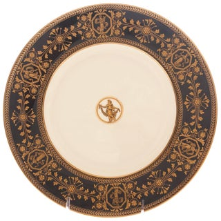 Nine Antique Wedgwood Black and Gilt Dinner Plates, Medallion Center For Sale