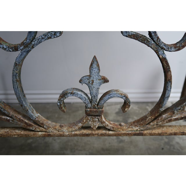 Alabaster 19th C. French Wrought Iron Console For Sale - Image 8 of 12