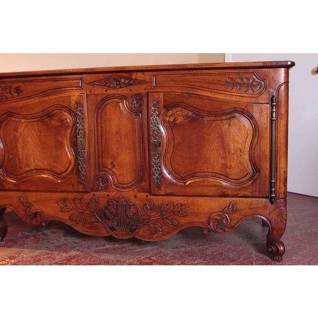 Walnut 18th Century French Louis XV Carved Walnut Two-Door Buffet from Provence For Sale - Image 7 of 10