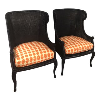 1970s Vintage Double Caned Wingback Chairs - a Pair For Sale