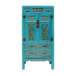 Chinese Fujian Blue Golden Carving Graphic Armoire Storage Cabinet For Sale