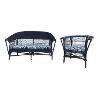 Antique Wicker Loveseat & Chair - A Pair For Sale