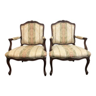 Vintage Style Fauteuil Chairs, a Pair For Sale