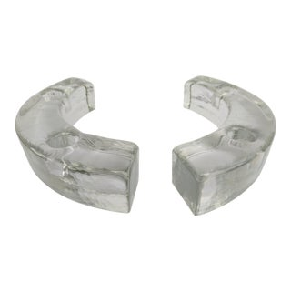 A Pair- Mid Century Kalmar Glass Curved Candle Holders For Sale