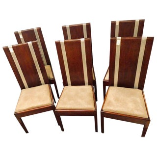 Six Mid-Century Modern or Art Deco Dining Chairs in the Manner of Jean M. Frank For Sale