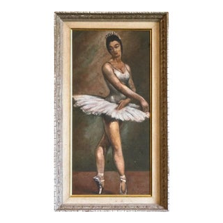Mid 20th Century Portrait of a Ballerina Painting, Framed For Sale