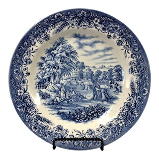 """Churchill Currier & Ives """"Harvest"""" Plate With Stand For Sale"""