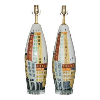 Vintage Bitossi Italian Ceramic Cityscape Table Lamps For Sale