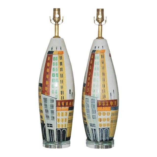 Vintage Bitossi Italian Ceramic Cityscape Table Lamps For Sale