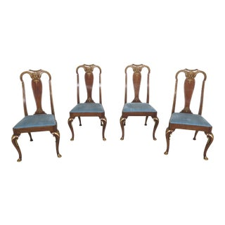1970s Baker Cherry Queen Anne Dining Chairs-Set of 4 For Sale