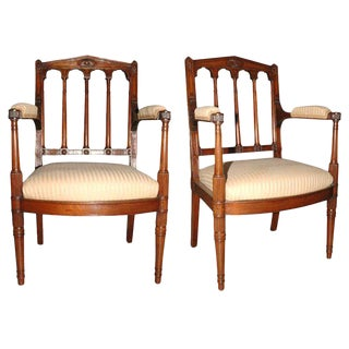 Pair of Louis XVI Carved Mahogany Fauteuils by George Jacob For Sale