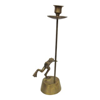 1970s Mid-Century Brass Frog Candlestick Holder For Sale