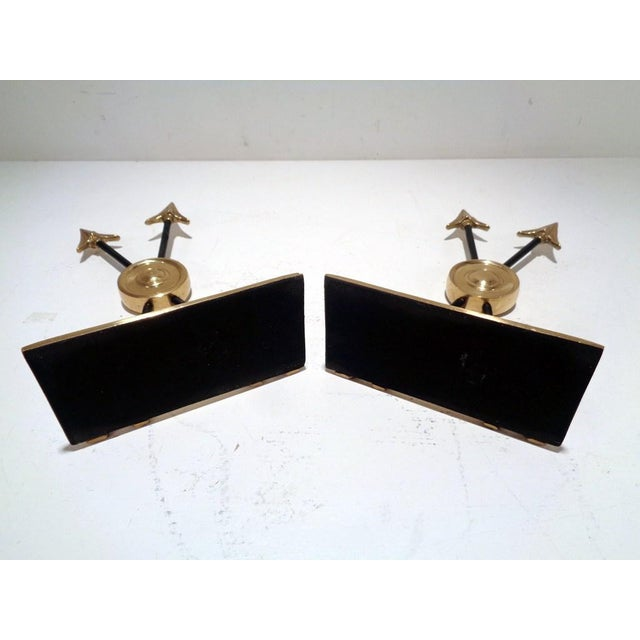 Brass Vintage Lacquered Brass Arrow Maitland Smith Style Bookends For Sale - Image 8 of 9