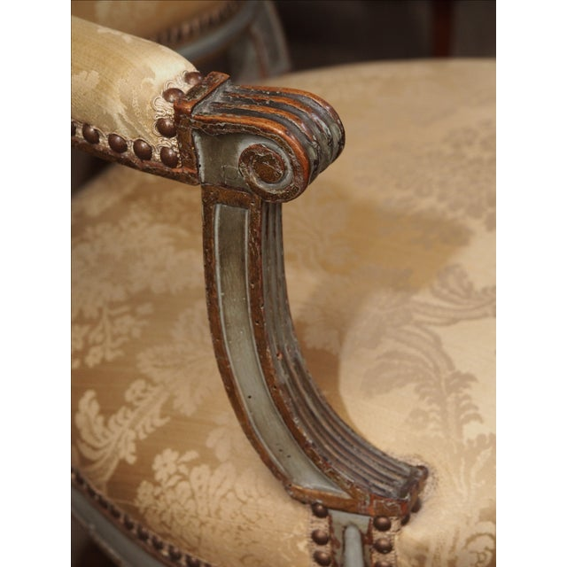 Green 18th Century Set of Six Transition Armchairs Stamped F.Geny For Sale - Image 8 of 11