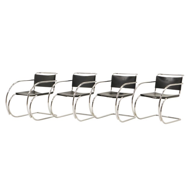 Set of Four Black Leather MR 20 Lounge Chairs with Arms by Mies van der Rohe For Sale
