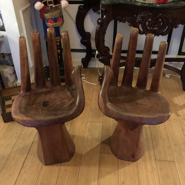 1970s Vintage Pedro Freideberg Style Wooden Hand Chairs- A Pair For Sale In Atlanta - Image 6 of 6