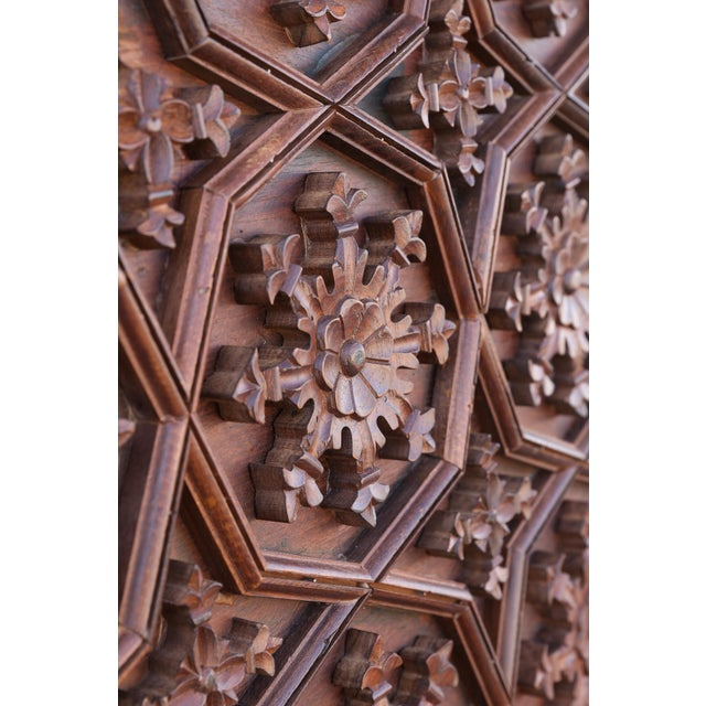 1880s Carved Solid Teak Wood Ceiling From Temple in Deccan For Sale In Houston - Image 6 of 11