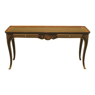 Drexel Chinoiserie Decorated Glass Top Console Table