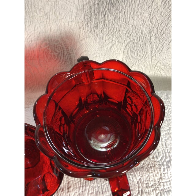 Vintage Moser Glass Cherry & Cable Ruby Spooner Vase With Double Handles For Sale In Greensboro - Image 6 of 8