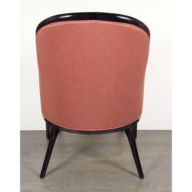 Ultra Chic Pair of Mid-Century Scroll Arm Chairs with Spoon Back design For Sale In New York - Image 6 of 7