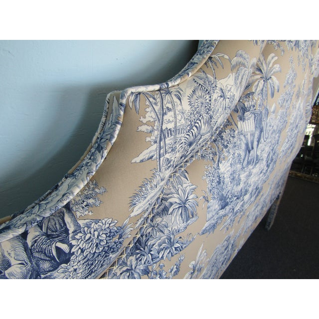 Blue Indian Safari Print Upholstered King Headboard - Image 5 of 5