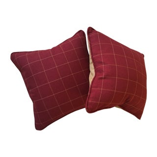 Burgundy Twill Check Pillows - A Pair For Sale