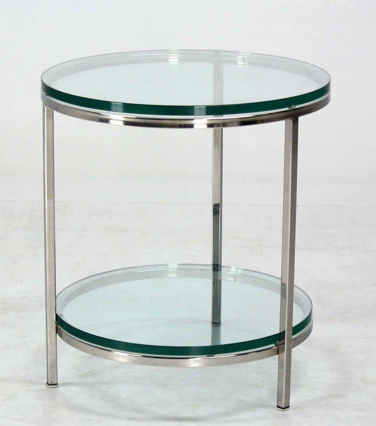 High Quality Mid Century Modern Chrome And Glass Center Table Side Table.