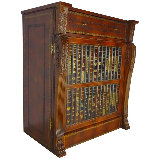 Maitland Smith Leather Faux Book Cabinet For Sale