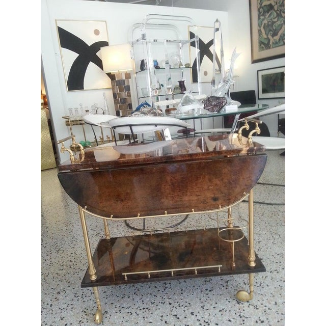 Mid-Century Modern Bar Cart in Lacquered Goatskin and Gold Plate by Aldo Tura For Sale - Image 9 of 13