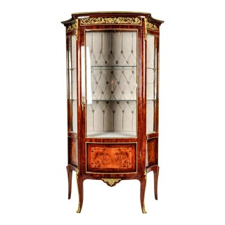 Sand Burl Wood Mahogany Curio Cabinet For Sale