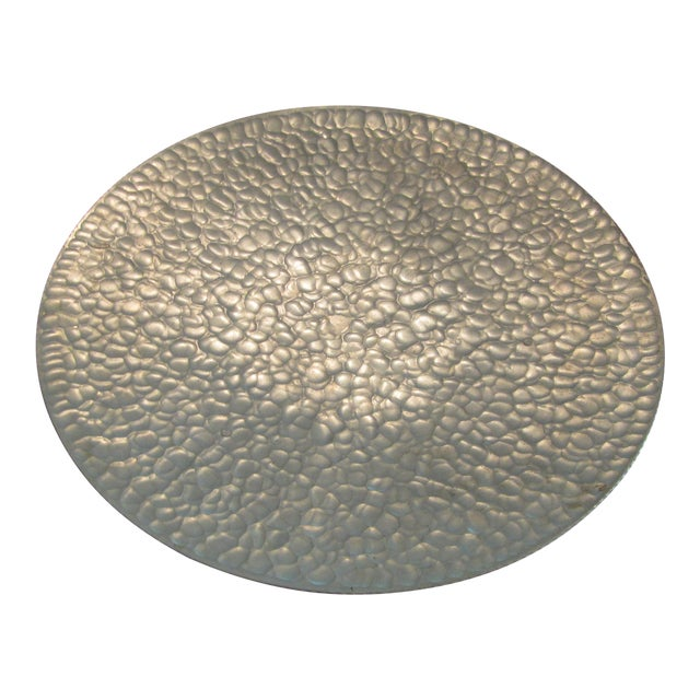 Mid Century Modern Hammered Aluminum Platter on Legs - Image 1 of 9