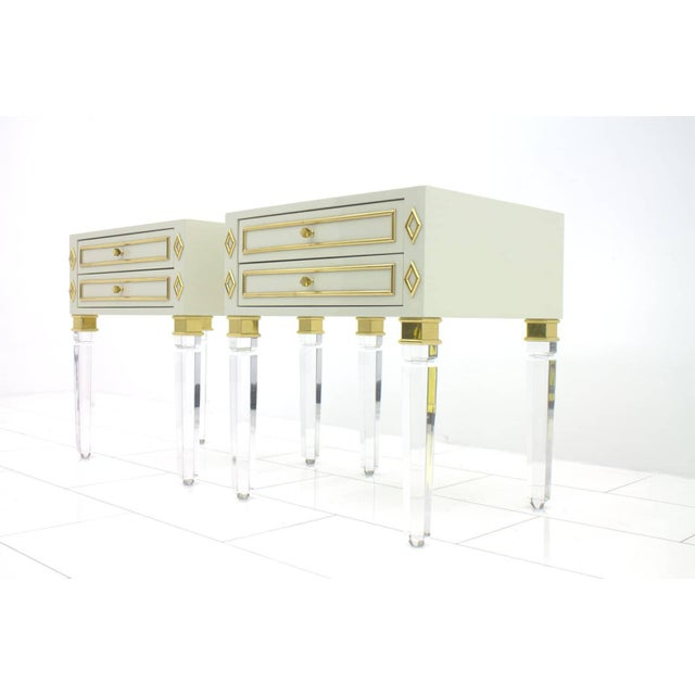 Pair of Nightstands, Lucite, Wood and Brass, 1970s For Sale - Image 9 of 9
