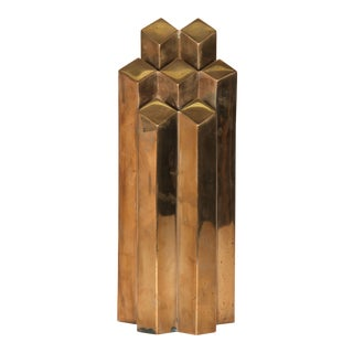 Modern Geometric Polished Bronze Sculpture For Sale