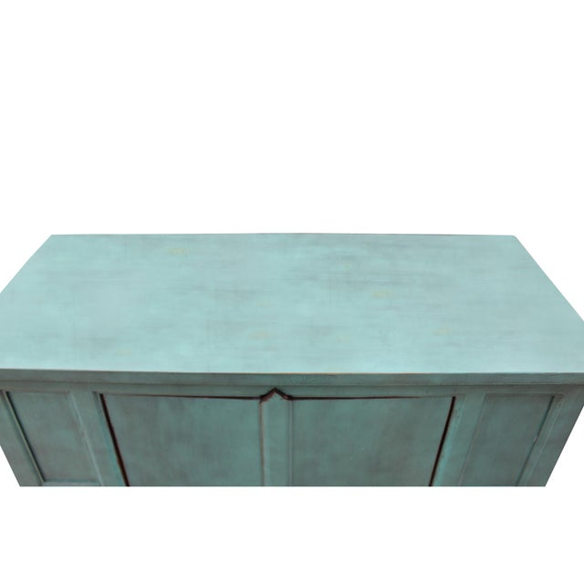 Rustic Simple Shabby Chic Rustic Light Blue Low Credenza Cabinet For Sale - Image 3 of 8