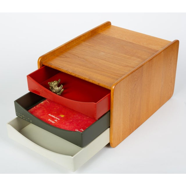 1960s Oak Desk Organizer With Painted Drawers by Børge Mogensen for Karl Andersson For Sale - Image 5 of 12