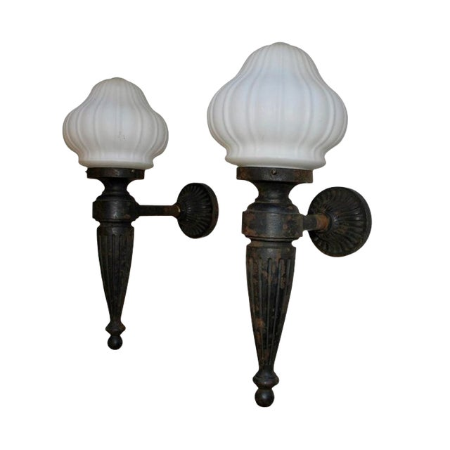 buy popular edc54 64b2f 1920s Large Cast Iron Outdoor Sconces - a Pair