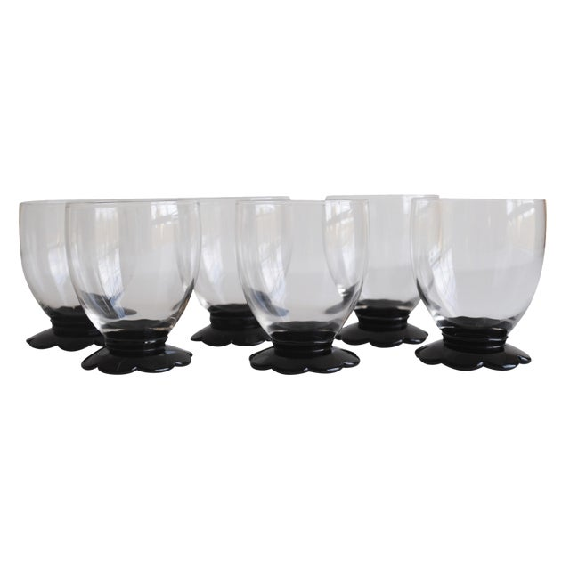 Black Scalloped Cocktail Glasses, Set of 6 - Image 1 of 8