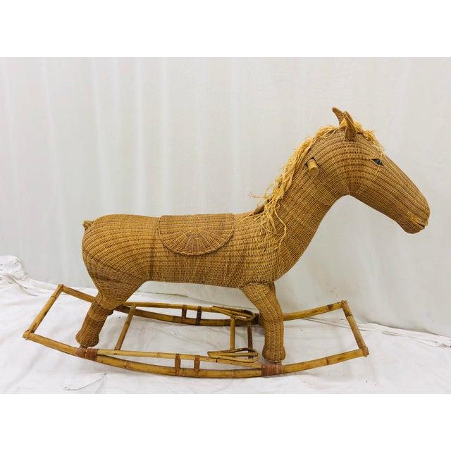 Fantastic Vintage Mid Century Era Franco Albini Style Woven Wicker & Bent Bamboo / Rattan Rocking Horse. Original finish...