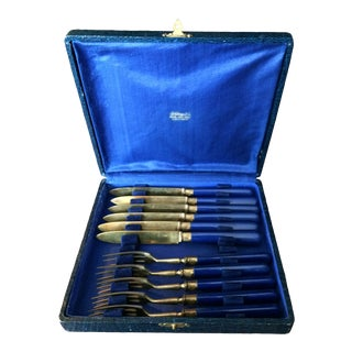 1940s French Art Deco Brass and Bakelite Desert Flatware for B. Altman - Set of 11 For Sale