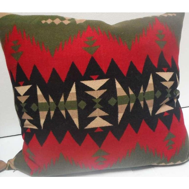 Fantastic Geometric Pendleton Indian Design Camp Blanket Pillows, Pair For Sale - Image 5 of 5