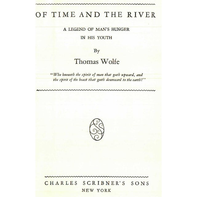 """Traditional 1935 """"Of Time and the River: A Legend of Man's Hunger in His Youth"""" Collectible Book For Sale - Image 3 of 4"""